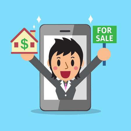 broker: Real estate broker agent and smartphone