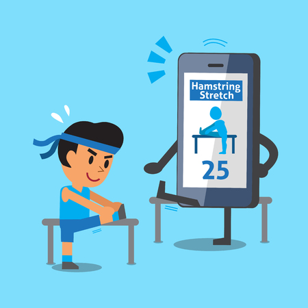 hamstring: Cartoon smartphone helping a man to do hamstring stretch exercise Illustration