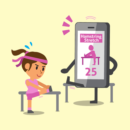 Cartoon smartphone helping a woman to do hamstring stretch exercise Illustration