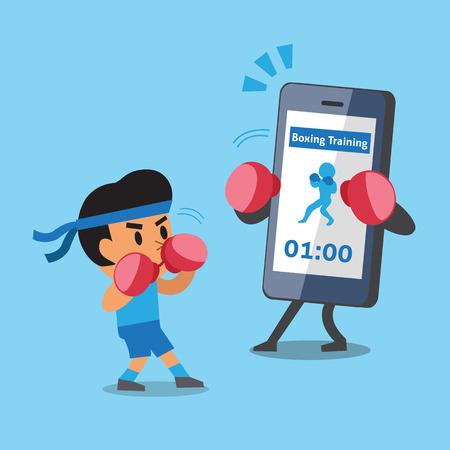 evade: Cartoon smartphone helping man to do boxing training Illustration