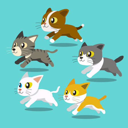 bombay: Cartoon cats running set