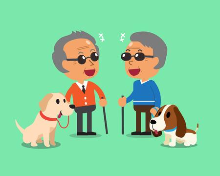 Blinde ältere Männer und ihre Hunde Standard-Bild - 56791565
