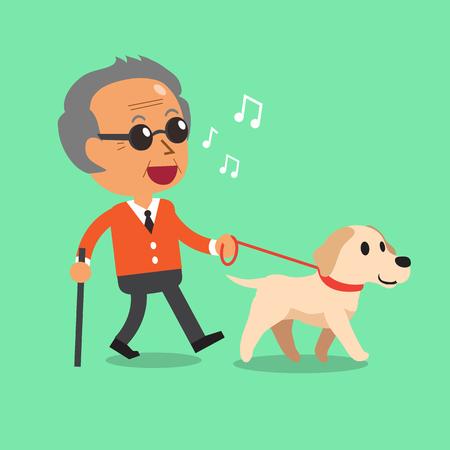 彼の犬を連れて歩いて盲目の年配の男性  イラスト・ベクター素材