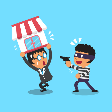 escape plan: Cartoon thief stealing business shop from a businessman