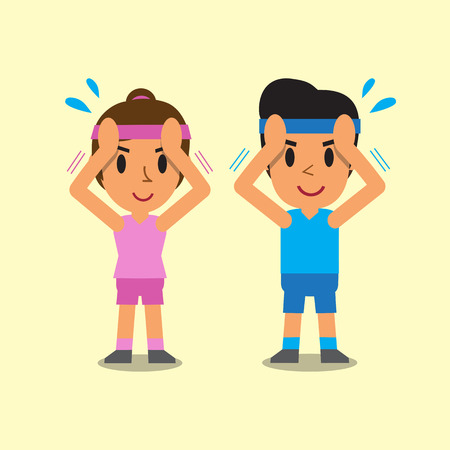 flexion: Cartoon man and woman doing isometric neck flexion exercise