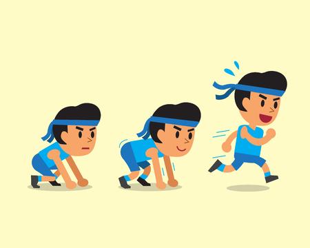 smart goals: Cartoon man running step Illustration