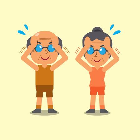 senior exercise: Cartoon senior man and senior woman doing isometric neck flexion exercise