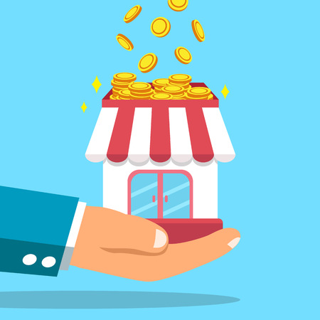 earning: Business big hand earning money with business store