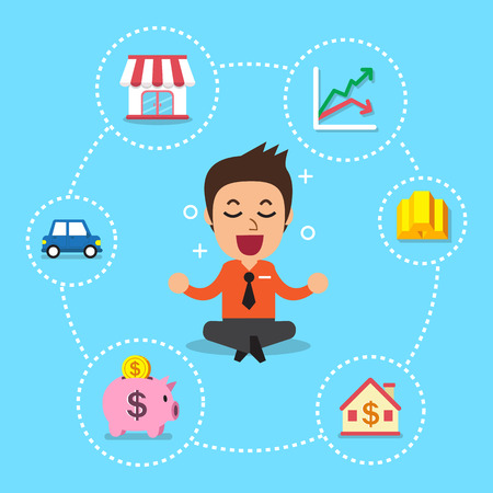 investing: Businessman with different investing options Illustration
