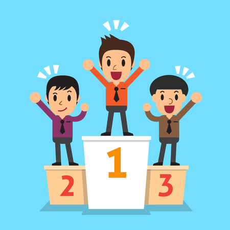 victorious: Businessmen winner standing on a podium