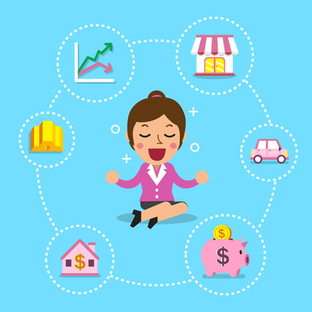 investing: Businesswoman with different investing options