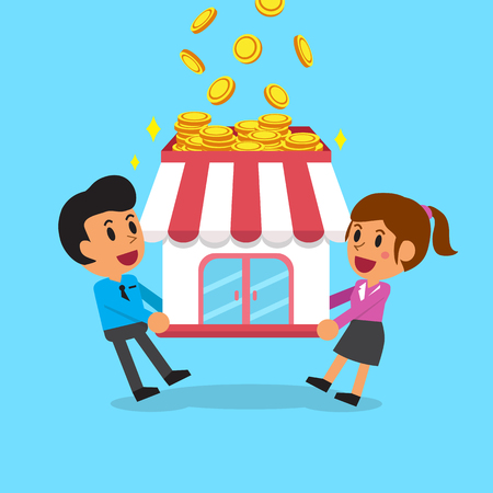 earning: Cartoon business team earning money with their business