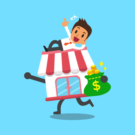 franchising: Cartoon businessman and business store