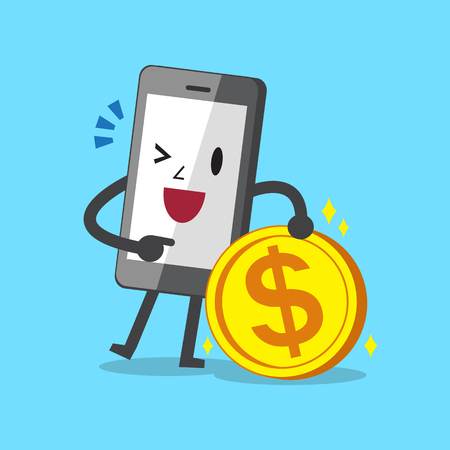 cellphone in hand: Business concept cartoon smartphone character and money coin Illustration