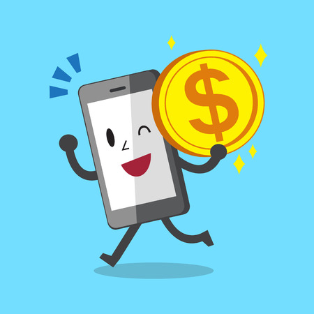 charges: Business concept cartoon smartphone character carrying money coin