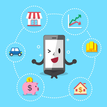 investing: Cartoon smartphone with different investing options