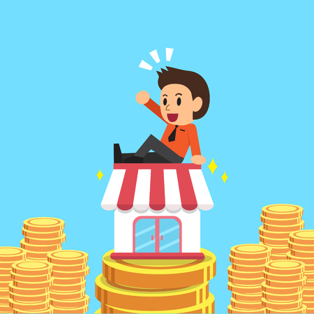 earning: Cartoon businessman earning money with his business