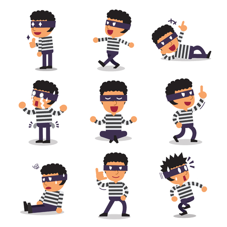 character poses: Cartoon thief character poses Illustration