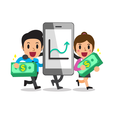 smartphone business: Cartoon smartphone help business people to make more profitable