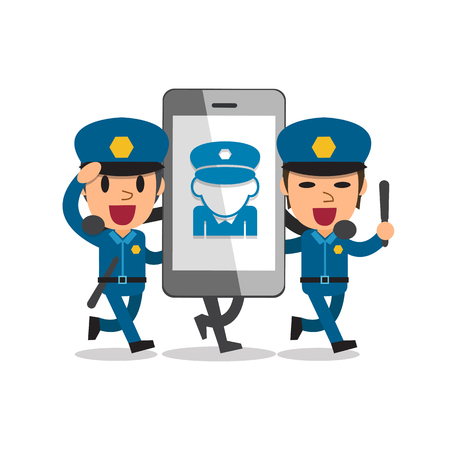 active content: Cartoon smartphone with policemen Illustration