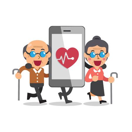 telefono caricatura: teléfono inteligente de dibujos animados con gente mayor
