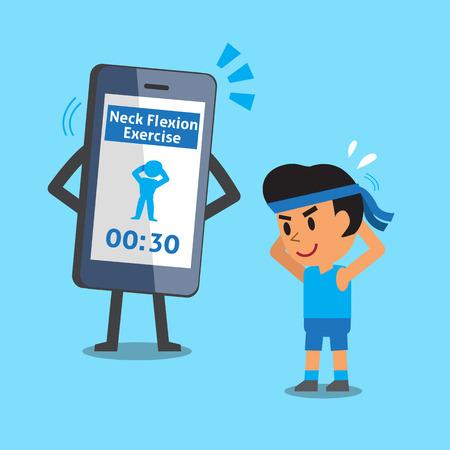 flexion: Cartoon smartphone helping man to do neck flexion exercise