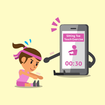 woman cellphone: Cartoon smartphone helping woman to do sitting toe touch exercise