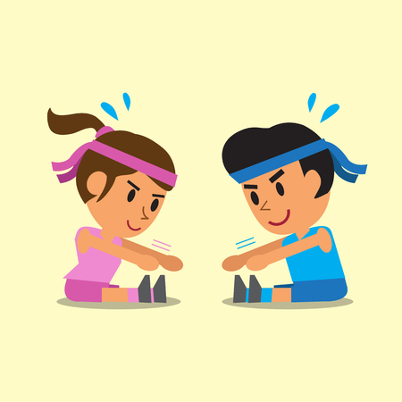 Cartoon man and woman do sitting toe touch exercise