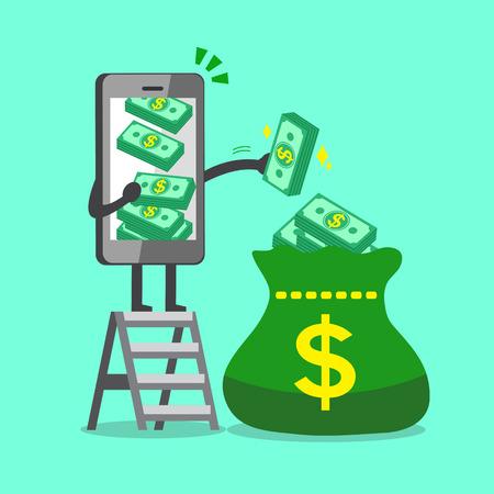 Business-Konzept Cartoon Smartphone Charakter, der Geld-Stack zu einer großen Tasche Standard-Bild - 58601676
