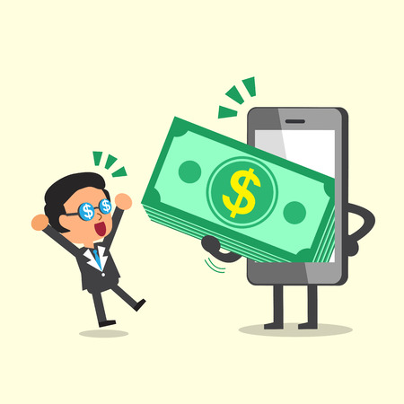 giving money: Business concept cartoon smartphone giving money stack to a businessman Illustration