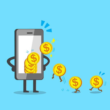 smartphone business: Business concept cartoon smartphone earning money
