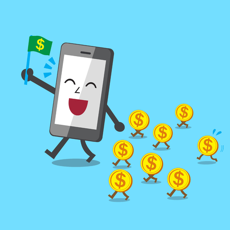 smartphone business: Business concept cartoon smartphone walk with money coins