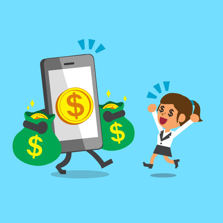 smartphone business: Business concept cartoon smartphone giving money to businesswoman Illustration