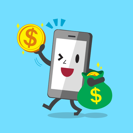 cellphone in hand: Business concept cartoon smartphone with big money coins and bag
