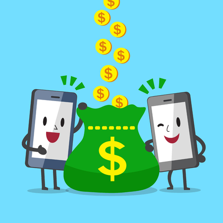earning: Business concept cartoon smartphone character earning money to a big bag Illustration