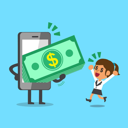 smartphone business: Business concept cartoon smartphone giving money stack to a businesswoman
