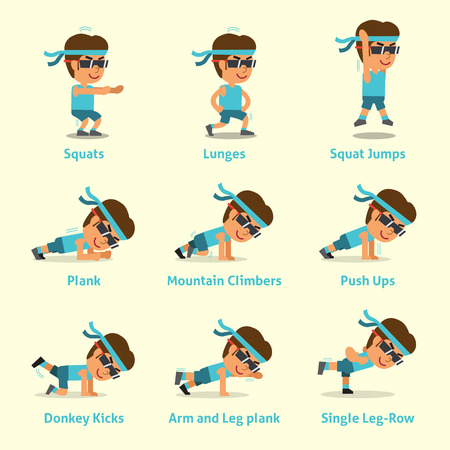 planking: Cartoon set of a man doing exercises for health and fitness