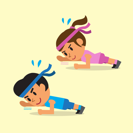 Cartoon a man and a woman doing plank with arm extension exercise