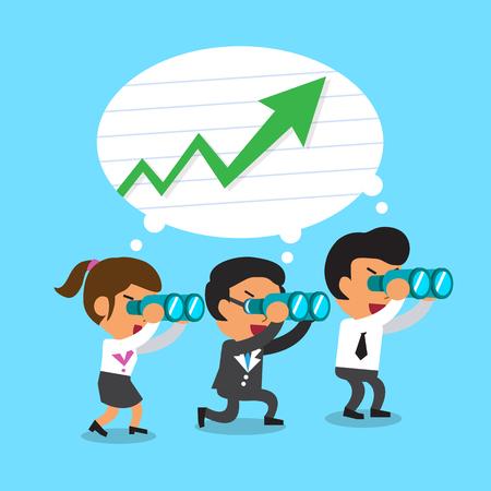 Cartoon business team look for green arrow chart 向量圖像