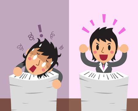 Cartoon a businesswoman expressing different emotions with paperwork