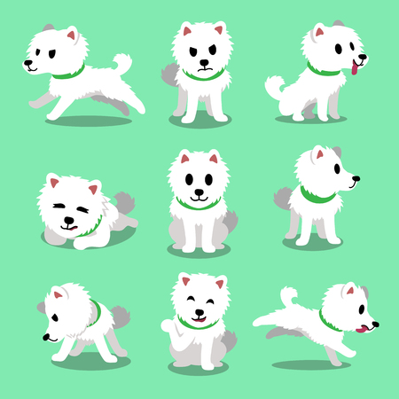 Cartoon character japanese spitz dog poses Zdjęcie Seryjne - 59601598
