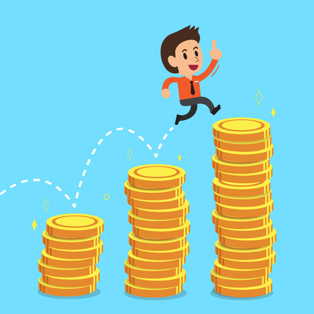 businessman jumping: Businessman jumping over money stacks Illustration