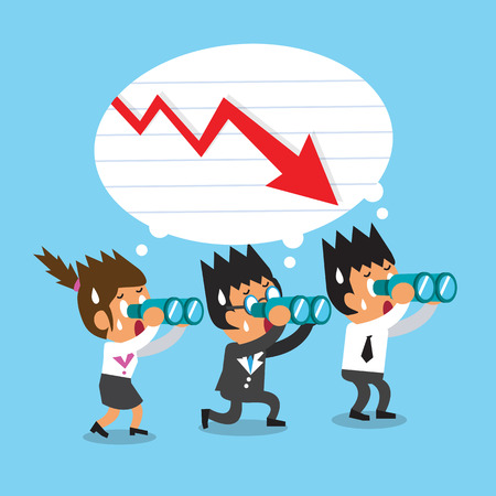 Cartoon business team look for red arrow chart