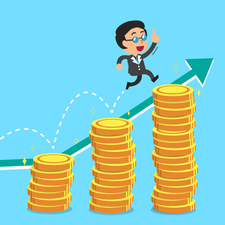 businessman jumping: Businessman jumping over money stacks with green arrow background