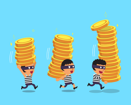 stealing: Cartoon thieves stealing money coin stacks