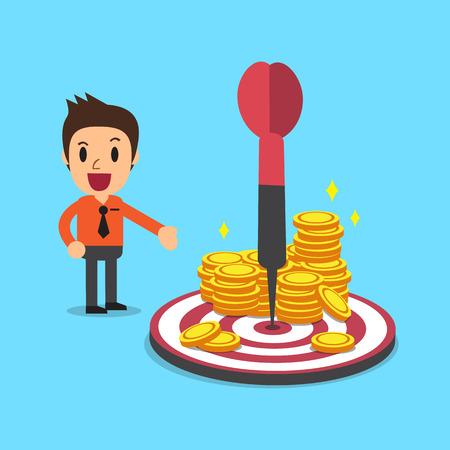 Geschäftsmann mit Ziel und Geld Münzen Standard-Bild - 59587506