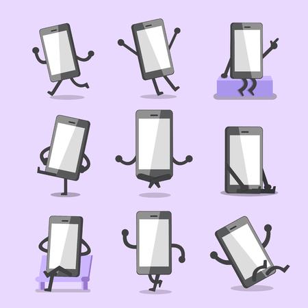 character poses: Cartoon smartphone character poses