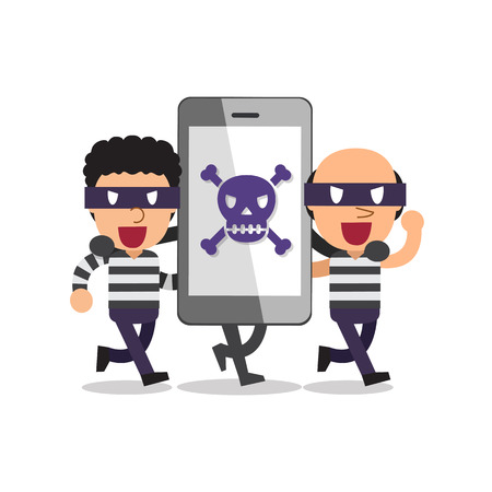 thieves: Cartoon smartphone with thieves Illustration