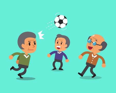 senior men: Senior men playing football Illustration