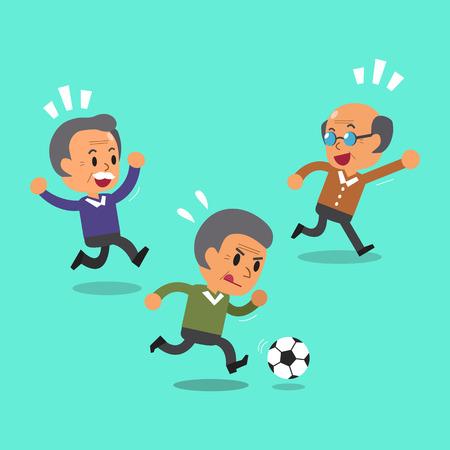 senior men: Cartoon senior men playing football Illustration